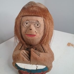 """Other - Vintage Carved Coconut 12"""" Monkey Philippines"""